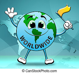 Worldwide Globe Character Shows World Globalization 3d Illustration