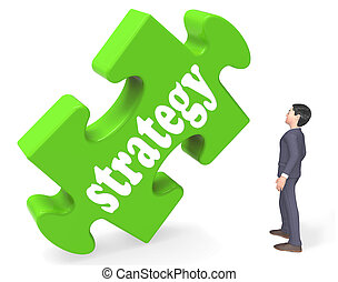 Strategy Showing Business Solutions Or Goals 3d Rendering
