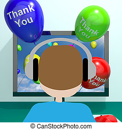 Thank You Balloons Coming From Computer 3d Rendering