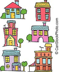 Doodle of house set colorful collection