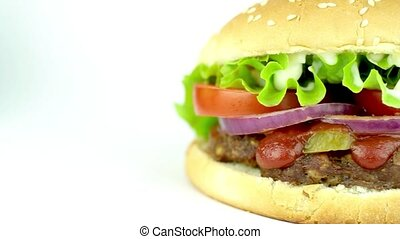 Delicious big hamburger on white background
