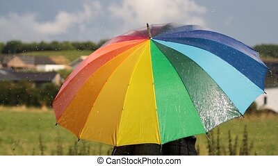 A person with rainbow colored umbrella in the rain