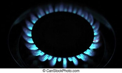 Natural gas blue flames ( 1080p HD video )