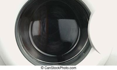Washing machine. Working process. Close up