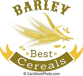 Barley grain badge for food packaging design - Barley grain...