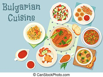 Bulgarian cuisine savory dishes icon design - Bulgarian...