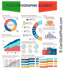 Pizza infographic elements for fast food design