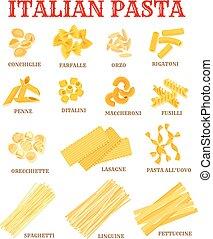 cucina, cibo, manifesto, elenco, disegno,  pasta, italiano