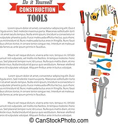 Hand saw with work tool poster for DIY design