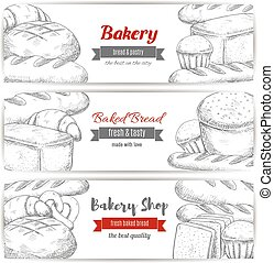 Bakery, bread and pastry shop sketch banner set