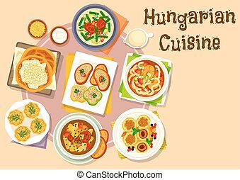 Hungarian national cuisine icon for menu design - Hungarian...