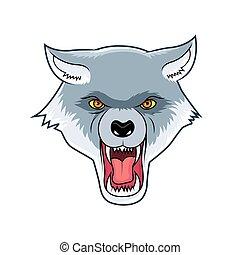 roaring wolf head