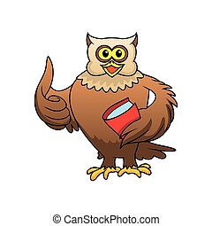 owl character with book