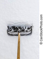 snow removal shovel - snow removal in the street a large...