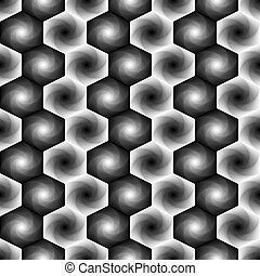 Seamless pattern with monochrome hexagonal forms - Abstract...