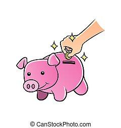 hand inserting coin to piggybank