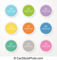 Circle Sticker, label colorful set with shadow