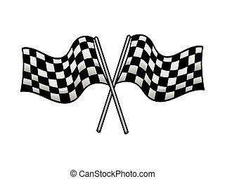 crossed racing flag