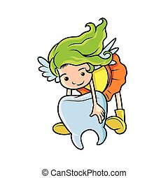 tooth fairy carrying tooth