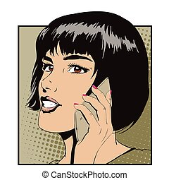 Girl with smartphone. Stock illustration. - Stock...