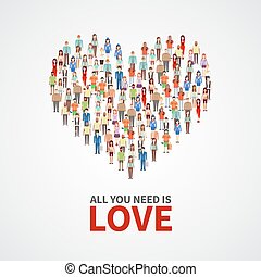 Happy people community, adult persons crowd in heart shape....