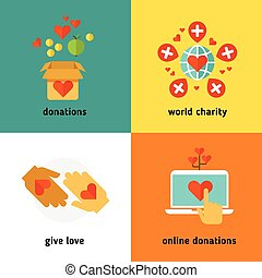 Charity and donation, social help services, volunteer work, non profit organization flat vector concepts