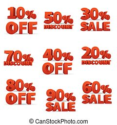 Promotional discount store vector signs with price percent off  stock