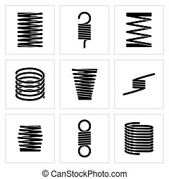 Steel wire flexible spiral coils spring vector icons....