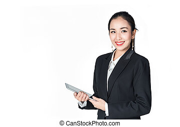 asian business woman holding tablet computer isolated on a white background