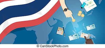 Thailand economy fiscal money trade concept illustration of financial banking budget with flag map and currency