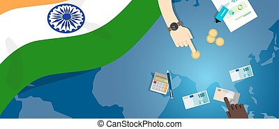 India economy fiscal money trade concept illustration of financial banking budget with flag map and currency