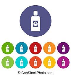 Bottle of mouthwash set icons - Bottle of green mouthwash...