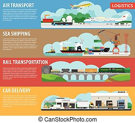 Logistics and shipping types infographics vector template...