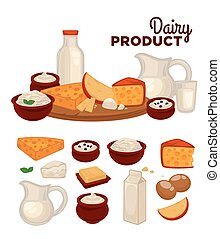 Set of healthy dairy products milk, cottage cheese, butter,...