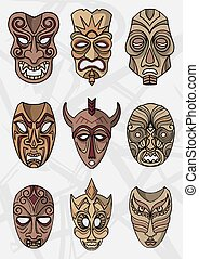 Wood ethnic or ceremonial theater masks vector icons - Wood...