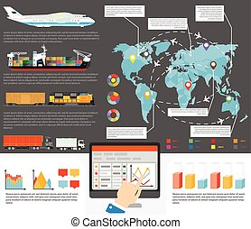 Logistics iternational shipping infographics template vector...