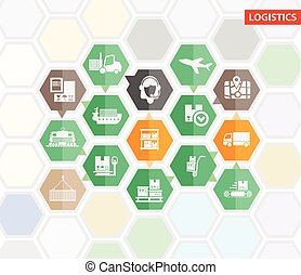 Logistics shipping infographics or icons vector template -...