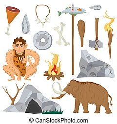 Stone age or Neanderthal vector icons and characters set -...