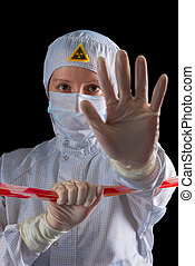 Woman working in the danger zone of radioactive contamination