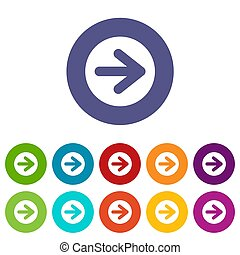 Arrow in circle set icons in different colors isolated on...