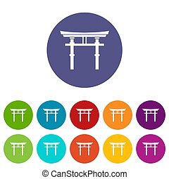 Japanese torii set icons in different colors isolated on...