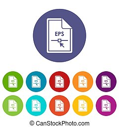 File EPS set icons in different colors isolated on white...