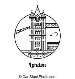 Travel London Icon - Travel London icon. Tower bridge is one...