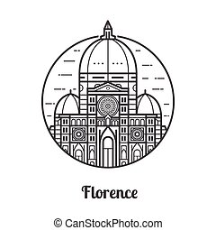 Travel Florence Icon - Travel Florence icon. Santa Maria del...