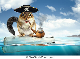 Funny drifting animal pirate, chipmunk with filibuster hat -...