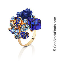 Jewelry ring with blue gems flower isolated on white with clipping path