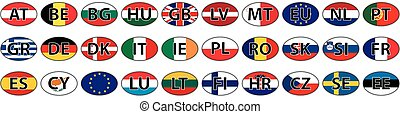 flags of the country of the EU oval sticke
