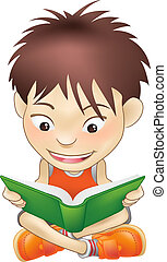 young boy reading a book - Illustration of a white boy...