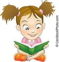 イラスト, 若い, 女の子, 読書, 本
