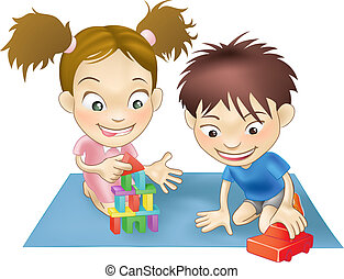 two children playing - An illustration of two white children...